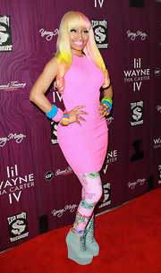 Nicki Minaj wore pastel blue ankle boots with wedge heels at the release party of Lil Wayne's album 'Tha Carter IV.'