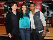 Logan Lerman wore an all-black ensemble--consisting of a cardigan, a button-down shirt, and jeans--when the 'Percy Jackson' cast visited Borders.