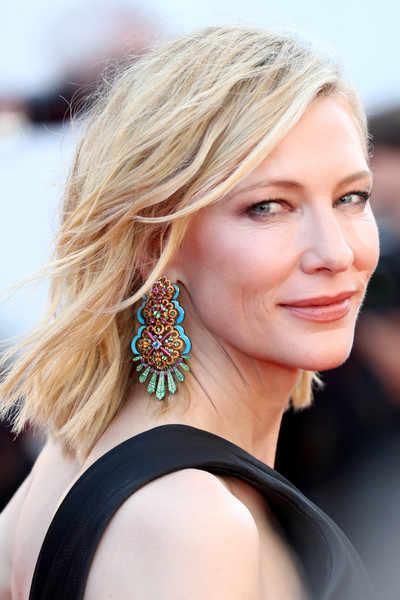 Cate Blanchett Gemstone Chandelier Earrings [girls of the sun,red carpet arrivals - the 71st annual cannes film festival,hair,face,hairstyle,blond,beauty,eyebrow,chin,shoulder,ear,long hair,may 12,president,screening,jury,palais des festivals,cannes,france,cannes film festival]