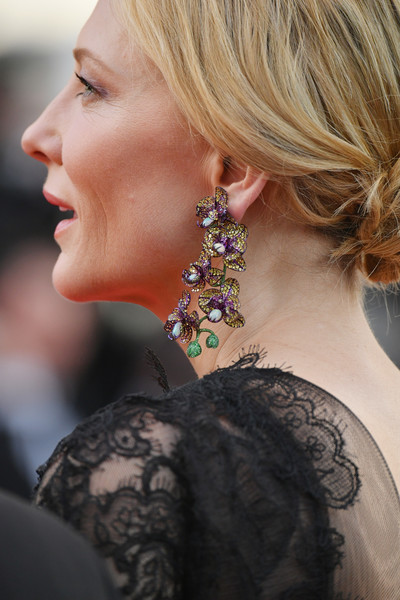 Cate Blanchett Gemstone Chandelier Earrings [everybody knows,hair,face,hairstyle,ear,chin,beauty,blond,neck,shoulder,long hair,cate blanchett,earring detail,screening,cannes,france,red carpet arrivals,cannes film festival,palais des festivals,gala]