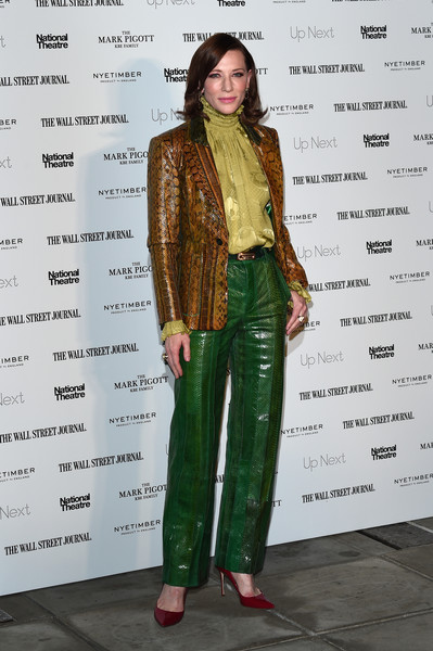 Cate Blanchett Pumps [clothing,green,fashion design,fashion,outerwear,pantsuit,jeans,trousers,fashion model,jacket,red carpet arrivals,cate blanchett,london,england,the national theatre,up next gala]