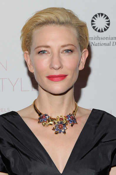 Cate Blanchett Red Lipstick [set in style,hair,hairstyle,blond,beauty,chin,eyebrow,lip,jewellery,fashion accessory,necklace,cate blanchett,new york city,the jewelry of van cleef arpels,cooper-hewitt national design museum,gala,gala]