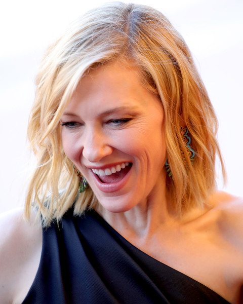 Cate Blanchett Medium Wavy Cut [girls of the sun,red carpet arrivals - the 71st annual cannes film festival,hair,face,blond,hairstyle,facial expression,smile,skin,beauty,chin,eyebrow,may 12,president,screening,jury,palais des festivals,cannes,france,cannes film festival]