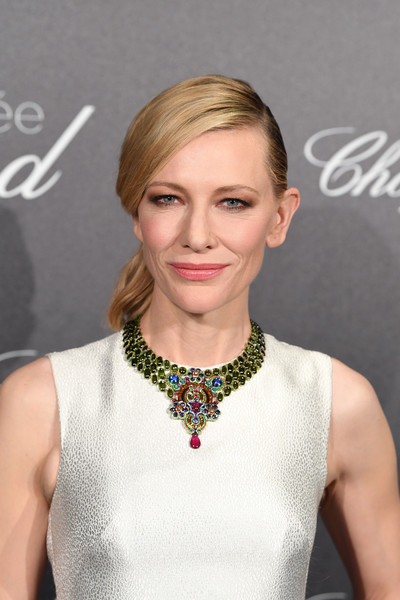 Cate Blanchett Gemstone Statement Necklace [chopard photocall,hair,face,hairstyle,blond,eyebrow,lip,beauty,chin,neck,cocktail dress,cate blanchett,trophee,trophee chopard,cannes,france,hotel martinez,cannes film festival]