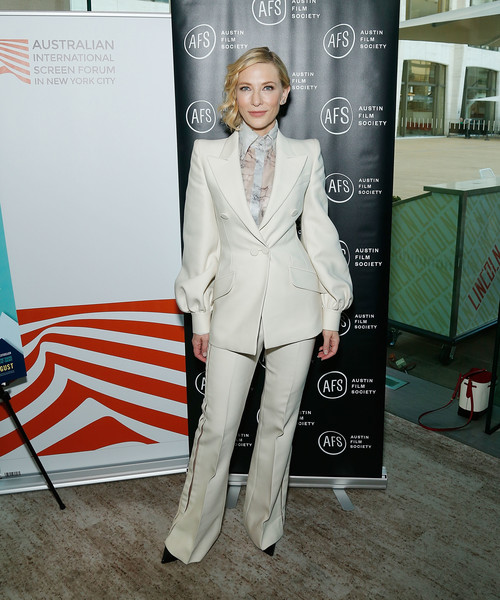 Cate Blanchett Pantsuit [suit,clothing,pantsuit,formal wear,fashion,tuxedo,carpet,outerwear,blazer,flooring,cate blanchett,bernadette,australian international screen forum whered you go,new york city,austin film society australian international screen forum,the austin film society,lincoln ristorante,dinner]
