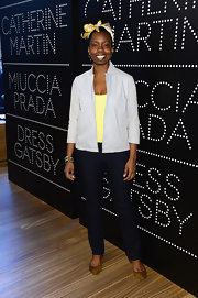 Adepero Oduye's gray denim jacket gave her a cool blend of a rough texture but a soft color.
