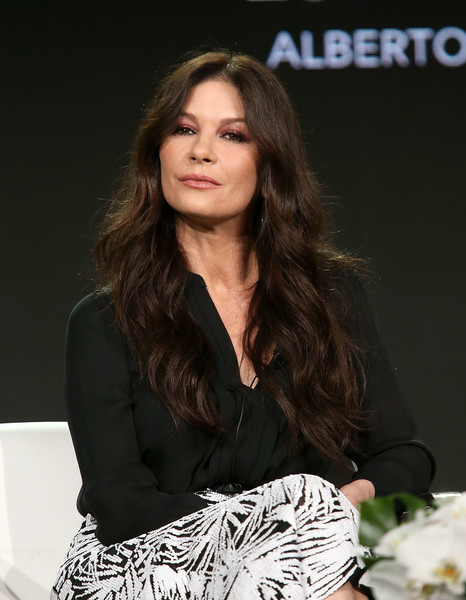 Catherine Zeta-Jones Tunic [hair,fashion,hairstyle,beauty,fashion model,brown hair,long hair,layered hair,fashion design,model,catherine zeta-jones,pasadena,california,a e networks,winter television critics association press tour]