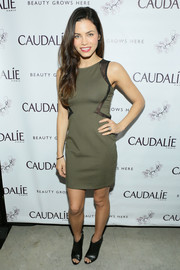 Jenna Dewan-Tatum chose an olive-green sheath with black trim for the Caudalie Boutique Spa grand opening.