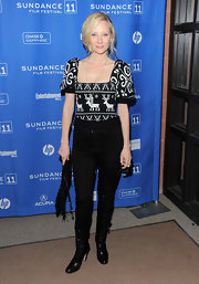 Anne donned a fair isle print sweater with a deep square neckline at the Sundance Film Festival.