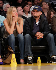 Leo showed his So-Cal support while sitting courtside at a Laker's game.