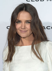 Katie Holmes swiped on some nude lipstick for a low-key beauty look.