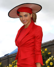 Gorgeous hats were abound at Crown Oaks Day. Jess wore a stunning red wide brimmed hat to go with her powerful red ensemble.