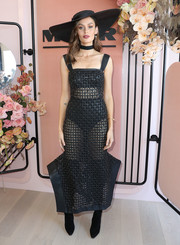 Nicole Trunfio went racy in a black Toni Maticevski net dress for her Derby Day look.