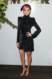 Nicole Richie looked fierce in a bold-shoulder, zebra-patterned LBD by Balmain during Golden Slipper Day.