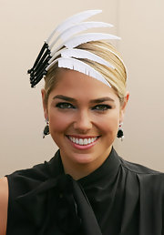 Ashley Hart added a sparkly silver shadow to her eye makeup look at a celebration of Victoria derby day.
