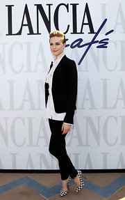 Evan Rachel Wood added drama to her look with houndstooth print pumps.