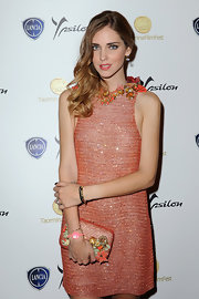 Chiara Ferragni glittered in a beaded orange dress with an embellished neckline at the 2013 Taormina Filmfest.