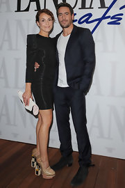 Ola Rapace wore classic black leather ankle boots to the Lancia Cafe.