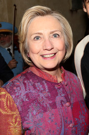 Hillary Clinton wore her hair in a simple bob while attending a Broadway show.