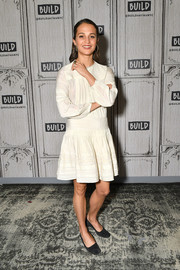 Alicia Vikander gave us prairie-girl vibes in a loose LWD by Sea New York while visiting Build.