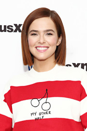 Zoey Deutch visited SiriusXM wearing her hair in a sleek bob.