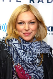 Laure Prepon wore a tiger striped scarf for her visit to SiriusXM in NYC.