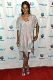 Halle Berry was all about distressed glamour in this loose silver patchwork dress during her appearance on 'Despierta America.'