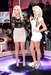 Karissa Shannon showed plenty of skin in a mini dress with a see-through lace bodice during this episode of 'Celebrity Big Brother.'