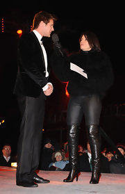 Davina McCall vamped it up in sexy black thigh-high boots on 'Celebrity Big Brother.'