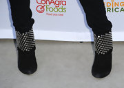 Pussycat Doll Ashley Roberts wore a killer pair of studded ankle boots, which added a hard-edge to her look.