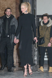 Nicole Kidman finished off her all-black attire with a pair of ankle-tie sandals.
