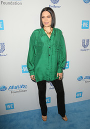 Jessie J attended WE Day California wearing an oversized emerald button-down.