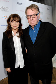 Emily Watson visited the Variety Studio wearing a black tux jacket over a white button-down.