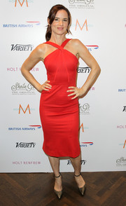 Juliette Lewis looked glam and slim in a tight-fitting red halter dress during her visit to the Variety Studio.