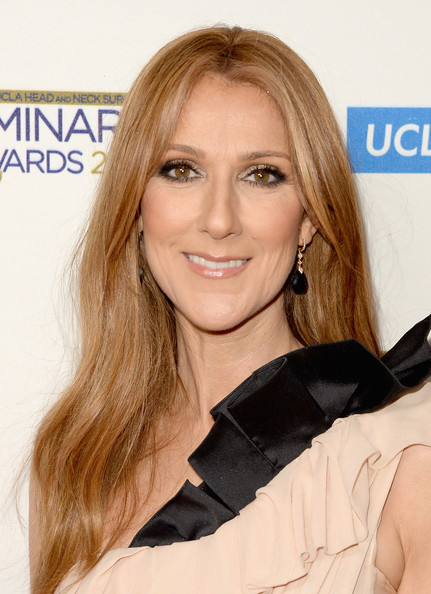 Celine Dion Dangling Gemstone Earrings [hair,face,blond,hairstyle,skin,eyebrow,chin,lip,cheek,beauty,celine dion,ucla head and neck surgery luminary awards,ucla head and neck surgery luminary awards,beverly hills,california,beverly wilshire four seasons hotel,red carpet]