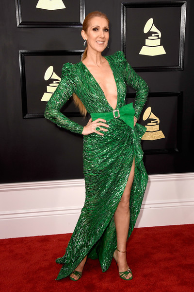 Celine Dion Beaded Dress [flooring,green,beauty,carpet,fashion model,dress,gown,lady,shoulder,red carpet,arrivals,celine dion,grammy awards,staples center,los angeles,california,the 59th grammy awards]