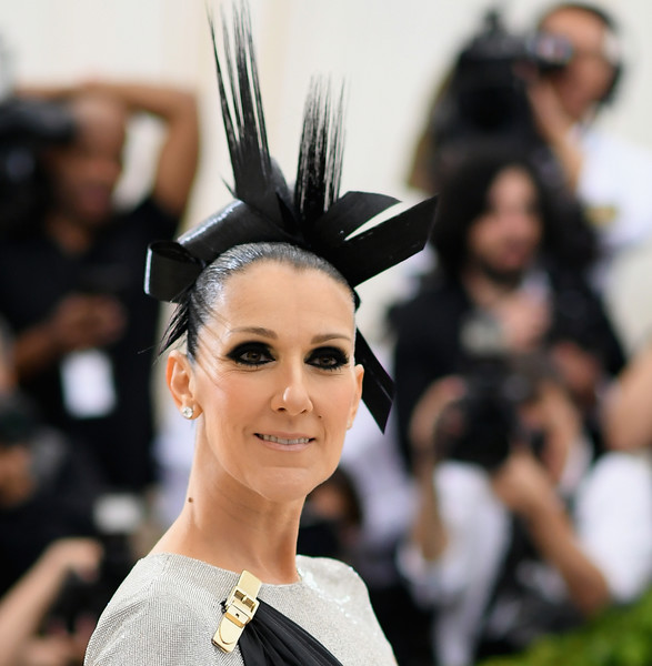 Celine Dion Smoky Eyes [rei kawakubo/comme des garcons: art of the in-between,rei kawakubo/comme des garcons: art of the in-between,hair,fashion,hairstyle,beauty,eyebrow,black hair,headpiece,hair accessory,haute couture,headgear,costume institute gala - arrivals,celine dion,new york city,metropolitan museum of art,costume institute gala]