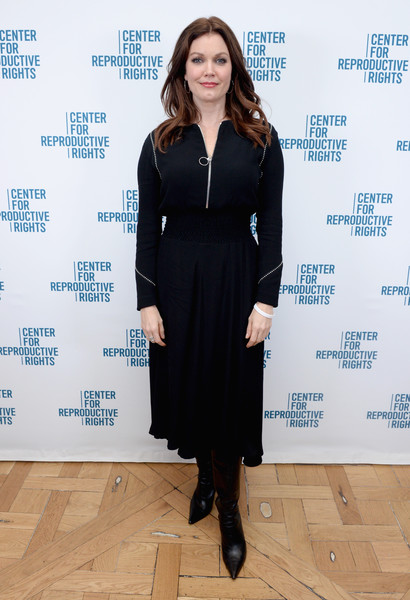 Bellamy Young attended the Center for Reproductive Rights benefit wearing a little black dress with a zip-up neckline.