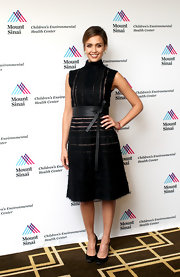 Jessica Alba opted for a modern take on the LBD with this sheer illusion striped frock that featured a high turtleneck.