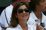 Mirka Federer's butterfly sunglasses were a glamourous choice.