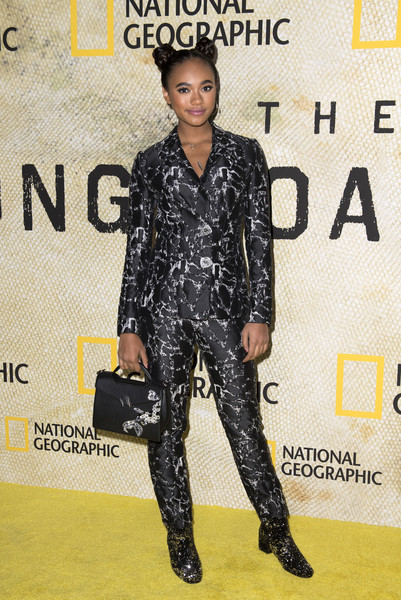 Chandler Kinney Pantsuit [the long road home,photo,clothing,hairstyle,fashion,footwear,fashion model,suit,outerwear,premiere,fashion design,carpet,arrivals,chandler kinney,the long road home premiere,los angeles,california,national geographic,premiere,red carpet event for national geographic]