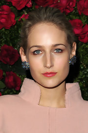 Leelee Sobieski chose a bright watermelon pink lipstick to pair with her pastel frock.