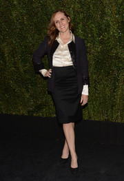Molly Shannon looked very classy in a navy tweed jacket layered over a white silk button-down during Drew Barrymore's book release party.