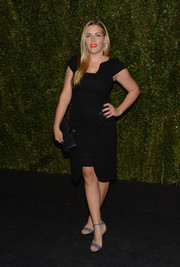 Busy Philipps attended Drew Barrymore's book release party wearing an LBD with a geometric hem and neckline.
