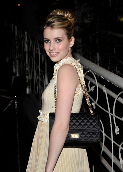 More Pics of Emma Roberts Classic Bun (1 of 4) - Emma Roberts Lookbook - StyleBistro [hair,clothing,hairstyle,fashion model,lady,fashion,beauty,dress,blond,shoulder,emma roberts,charles finch host,charles finch,dinner,california,los angeles,madeo restaurant,chanel,pre-oscar,dinner]