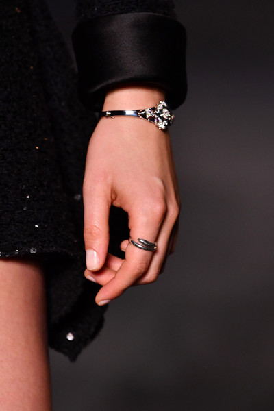 More Pics of Kristen Stewart Diamond Bracelet (1 of 11) - Kristen Stewart Lookbook - StyleBistro [little black dress,hand,bracelet,jewellery,fashion,fashion accessory,nail,finger,arm,wrist,collection,kristen stewart,jewelry detail,paris,france,le grand palais,chanel cruise 2018]