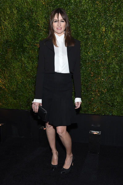 Emily Mortimer looked a little pensive in a black skirt suit during the Tribeca Film Festival Chanel dinner.
