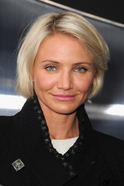 Cameron Diaz wore her short ultra-blond bob casually tousled while attending the Chanel fashion show in Paris.