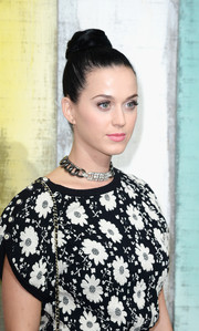 Katy Perry attended the Chanel fashion show wearing a fun top-knot.