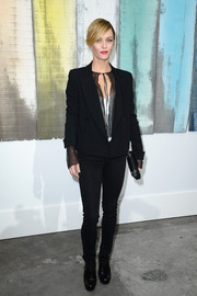 Vanessa Paradis was edgy-chic at the Chanel fashion show in black skinny jeans and a double-breasted blazer.
